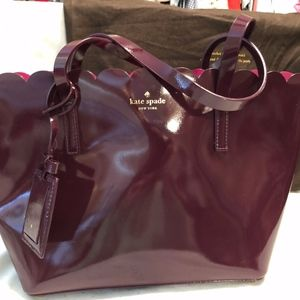 Kate Spade Handbag Mulberry with Hot Pink Interior